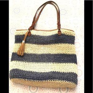 BRIGHTON Woven Straw & Leather Handbag Blue Beige